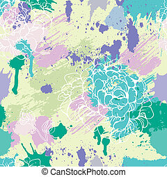 Seamless pattern with blots, ink splashes and hand drawn flowers. Abstract background for design in grunge style. Ready to use as swatch.