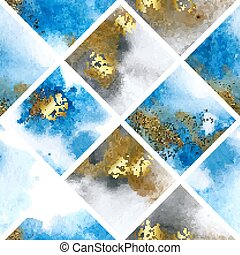 Seamless pattern with blue and gold marble watercolor texture. Vector illustration
