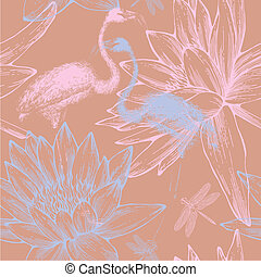 Seamless pattern with blue and pink flamingos, dragonflies and water lilies. Vector illustration.