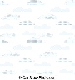 Seamless pattern with blue clouds. Iillustration with abstract sky.