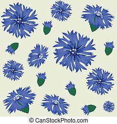seamless pattern with blue cornflower