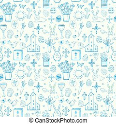 Seamless pattern with blue easter doodle sketches