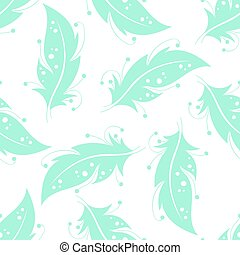Seamless pattern with blue feathers