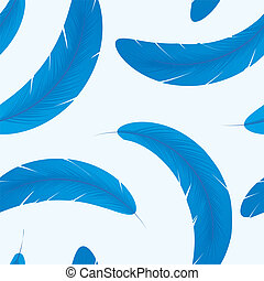 Seamless pattern with blue feathers, vector illustration