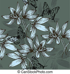 Seamless pattern with blue flowers and butterflies, hand-drawing. Vector illustration.