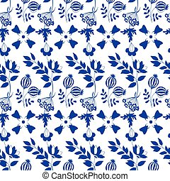 seamless pattern with blue flowers on white