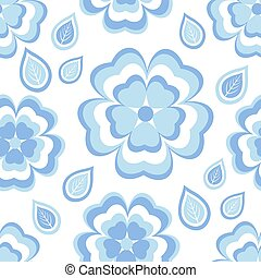 Seamless pattern with blue flowers sakura and leaves