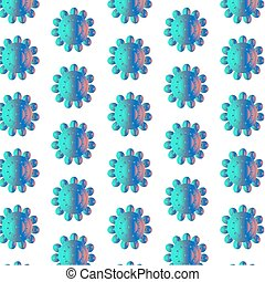 Seamless pattern with blue flowers, white background