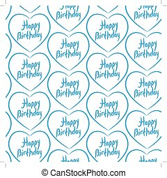 Seamless pattern with blue hearts on a white background. Happy birthday