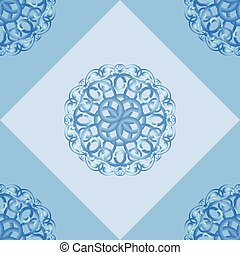 Seamless pattern with blue ornamental decor