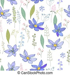 Seamless pattern with blue primroses. Endless texture for ...