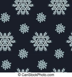 Seamless pattern with blue snowflakes on dark background