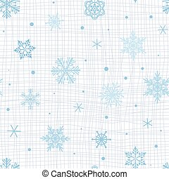 seamless pattern with blue snowflakes on white textured background