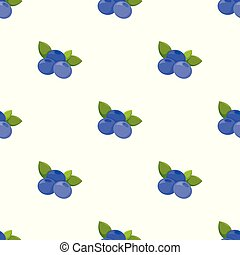 Seamless pattern with blueberry on white background