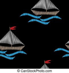 Seamless pattern with boat with blue wave embroidery stitches imitation on black background