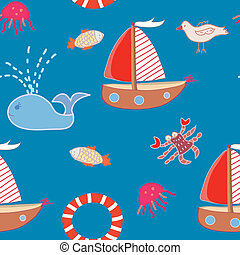 Seamless pattern with boats and sea animals for kids
