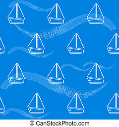 Seamless pattern with boats and waves