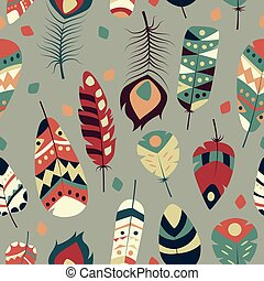 Seamless pattern with boho vintage tribal ethnic colorful vibrant feathers