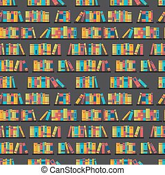 Seamless pattern with books on bookshelves. Flat design. Library, bookstore. Cute background