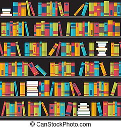 Seamless pattern with books on bookshelves. Flat design. Library, bookstore