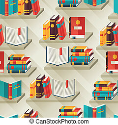 Seamless pattern with books on bookshelves in flat design...