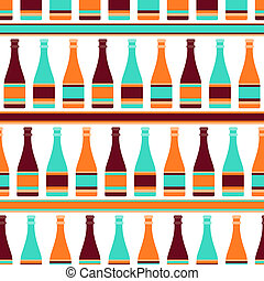 Seamless pattern with bottles of champagne in retro style.