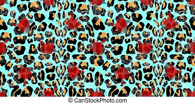 Seamless pattern with bouquets of roses on leopard skin background eps10