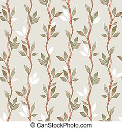 Seamless pattern with branches and leaves 3