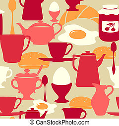Seamless pattern with breakfast the