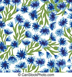 Seamless pattern with bright blue cornflowers. Suitable for ...