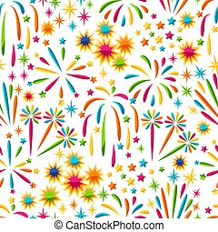 Seamless pattern with bright colorful fireworks and salute