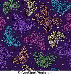 Seamless pattern with bright contour butterflies