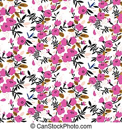 Seamless pattern with bright pink flowers