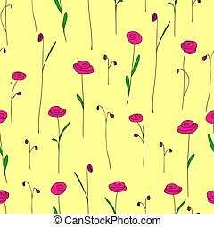 Seamless pattern with bright pink flowers. Yellow background with stylized doodle roses. Elegant template for fashion print.Cute vintage floral backdrop for summer or spring design