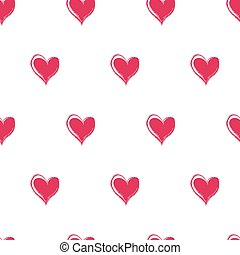 Seamless pattern with bright pink hearts on a white background, vector