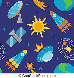 Seamless pattern with bright space icons in flat style