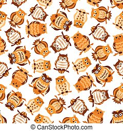 Seamless pattern with brown owls on branches