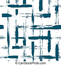 seamless pattern with brush cross and strokes. Blue color on...