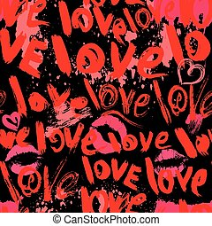 Seamless pattern with brush strokes and scribbles in heart shapes, kiss prints and words LOVE - Valentines Day Background in grunge style.