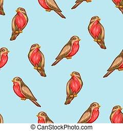 Seamless pattern with bullfinch birds. Stylized hand drawn ...