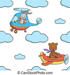 Seamless pattern with bunny in the helicopter