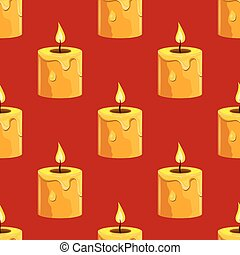 Seamless pattern with burning candle