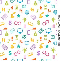 Seamless Pattern with Business and Financial Icons