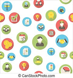 Seamless pattern with business icons