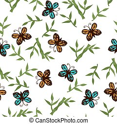 Seamless pattern with butterflies and bamboo on a white background. Vector graphics