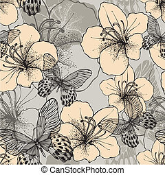 Seamless pattern with butterflies and flowering hibiscus. Vector illustration.