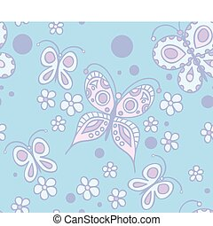 pattern with butterflies and flowe