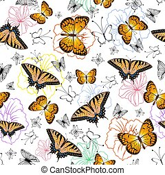 Seamless pattern with butterflies and flowers - Illustration...
