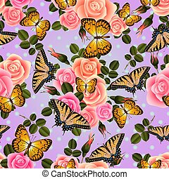Seamless pattern with butterflies and roses - Illustration...