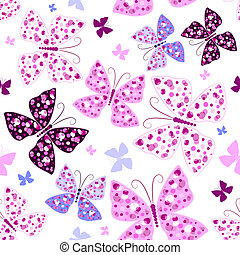 Seamless white pattern with pink and violet butterflies (vector)